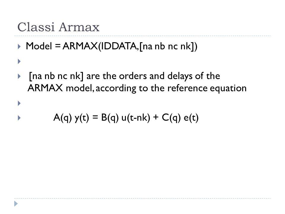 Classi Armax Model = ARMAX(IDDATA,[na nb nc nk])